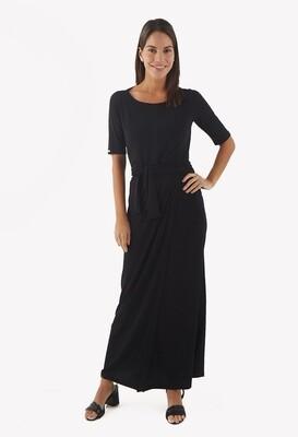 Maxi vestido negro con nudo