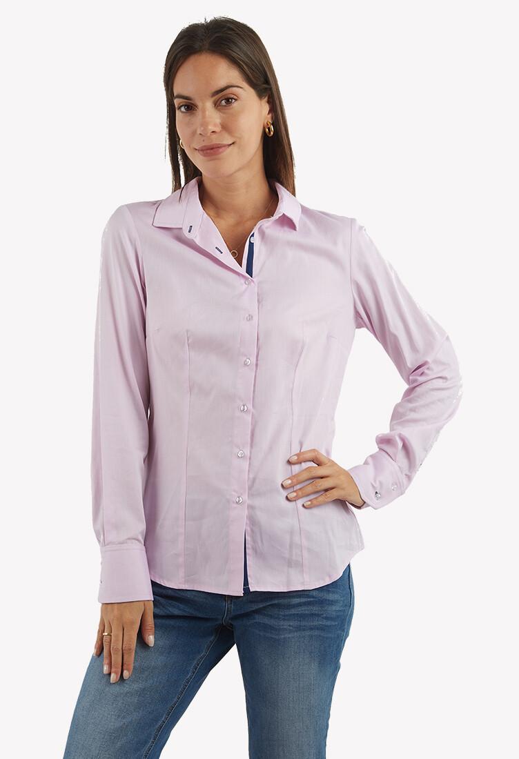 Blusa tipo camisa color rosado