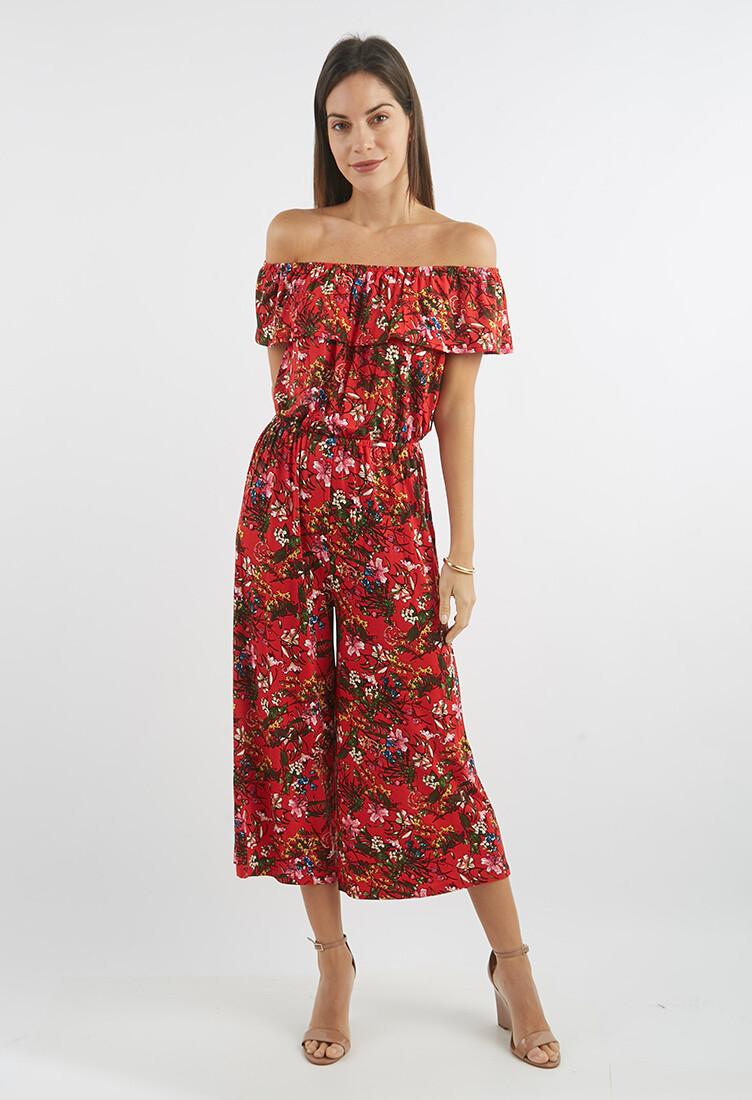 Enterizo off Shoulder estampado floral rojo