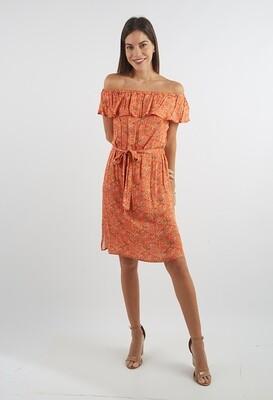 Vestido off Shoulder estampado color naranja