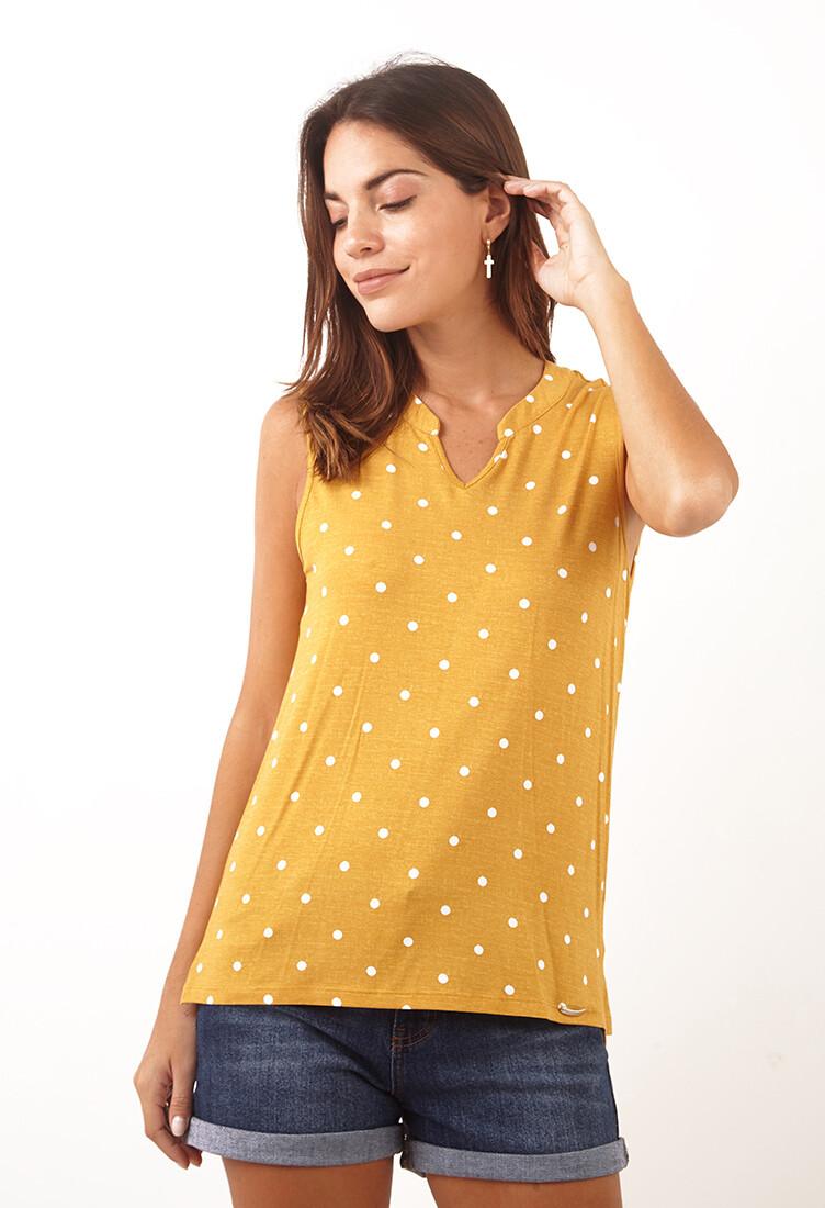 Polo amarillo manga cero polka dots
