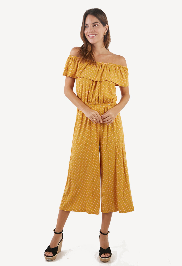 Enterizo off shoulder amarillo