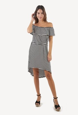 Vestido off shoulder estampado rayas blanco & negro