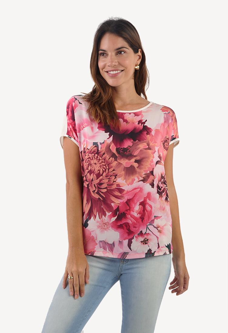 Polo color rosa con estampado floral