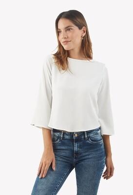 Blusa color hueso con detalle en la espalda