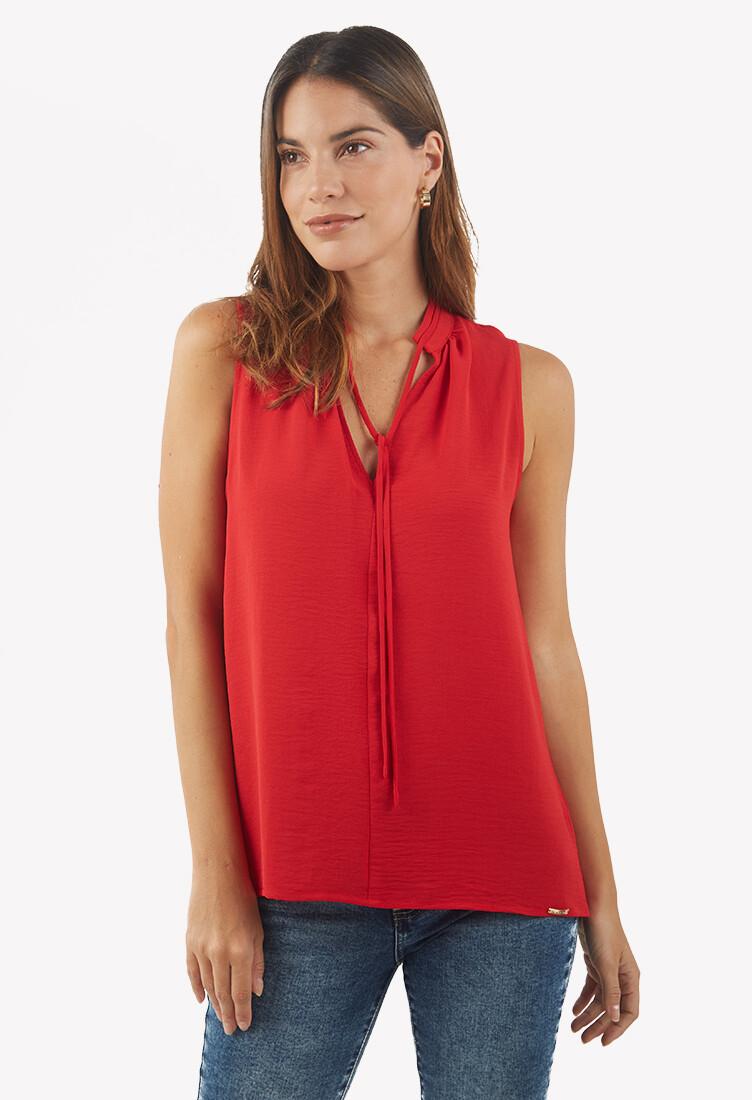 Blusa manga cero roja