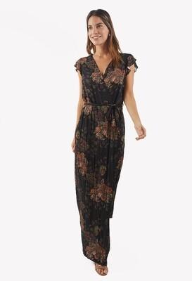Vestido con estampado otoñal color negro