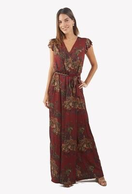 Vestido con estampado otoñal color guinda