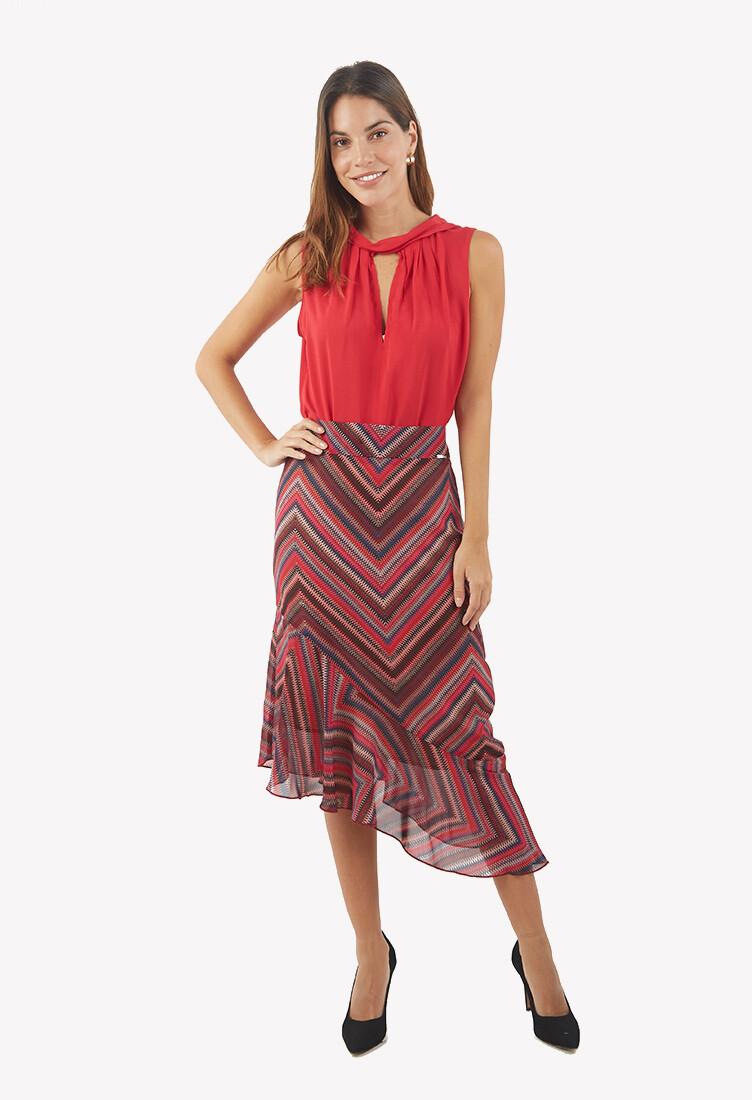 Falda asimetrica roja