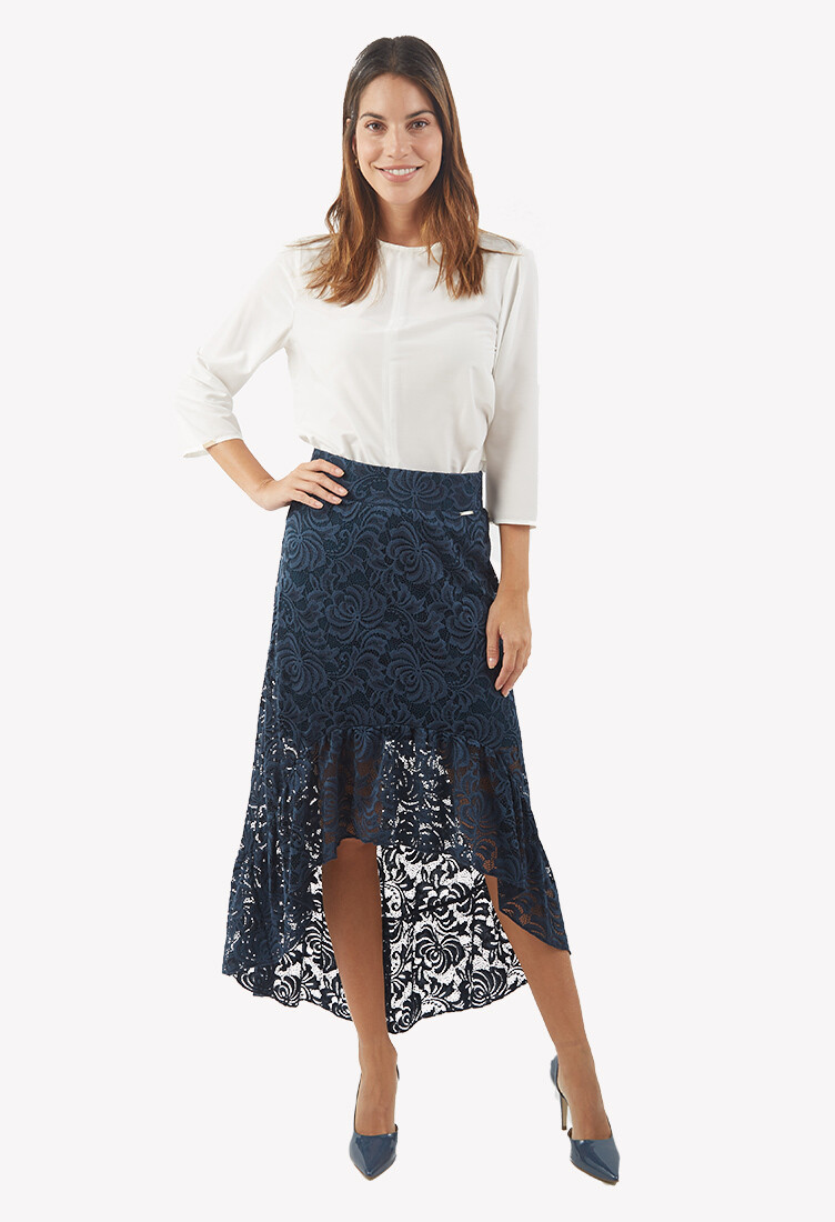 Falda asimétrica con encaje color azul