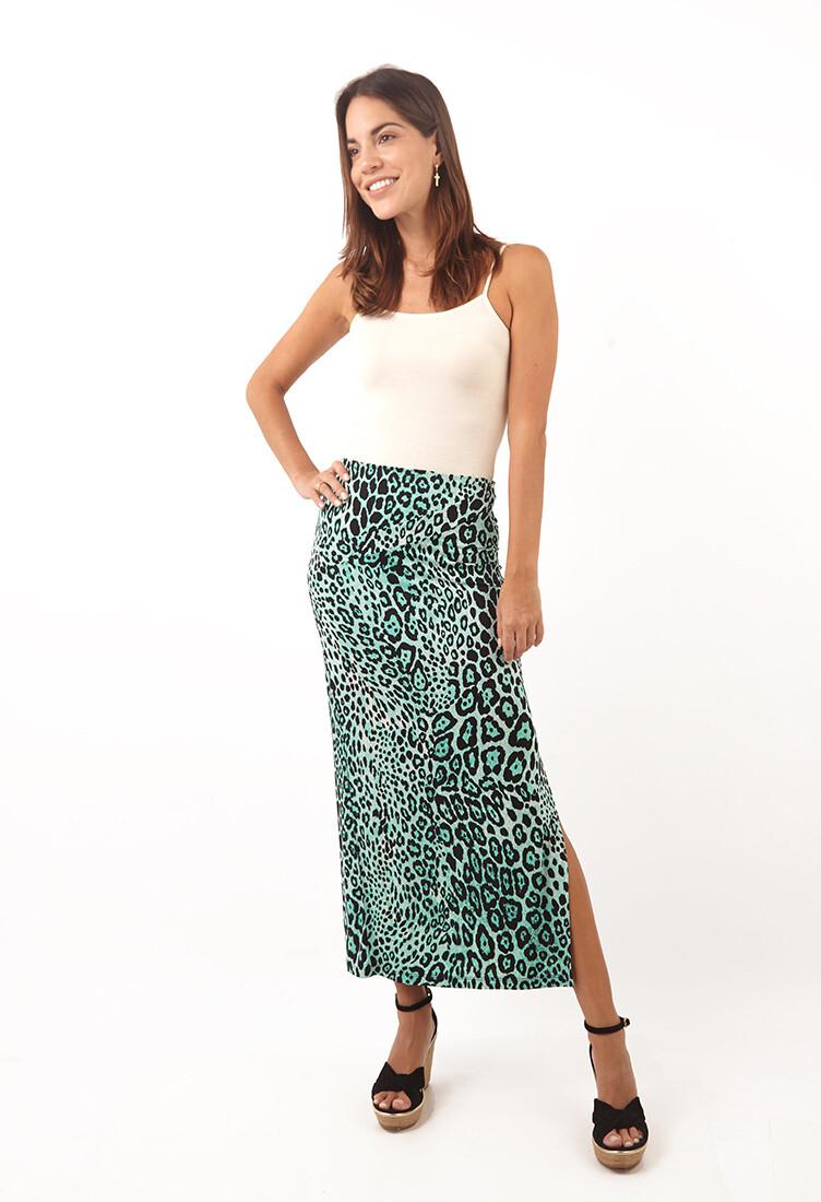Falda estampado print en color verde