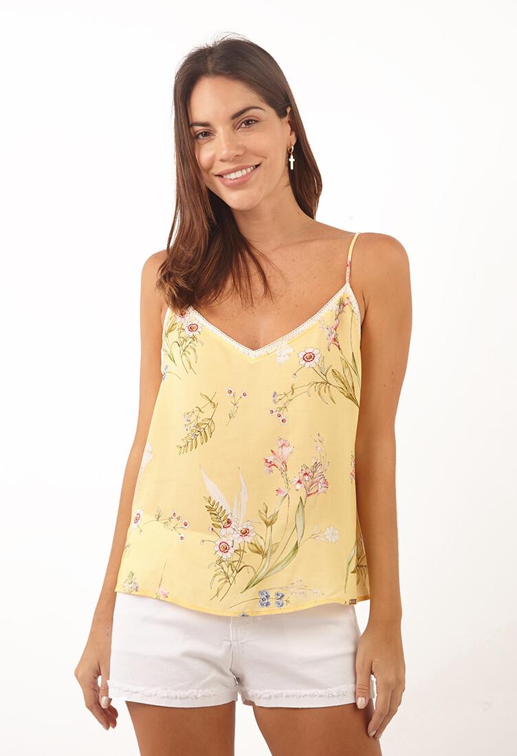 Top amariillo floral escote en V