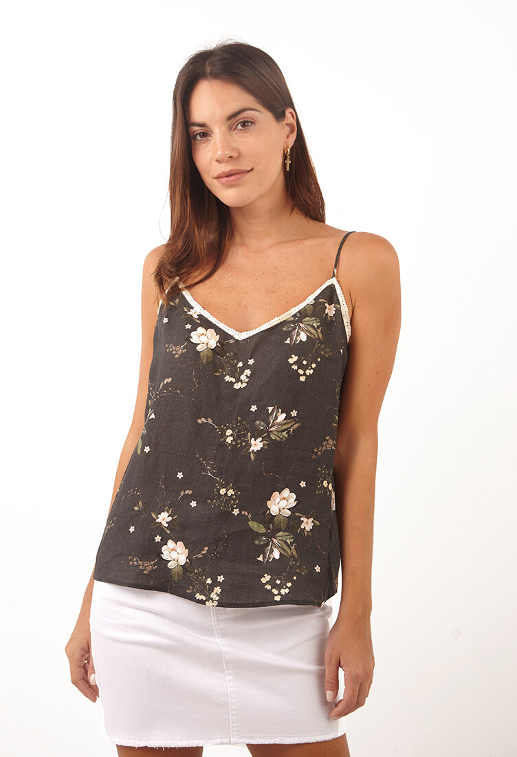Top charcoal escote en V estampado floral