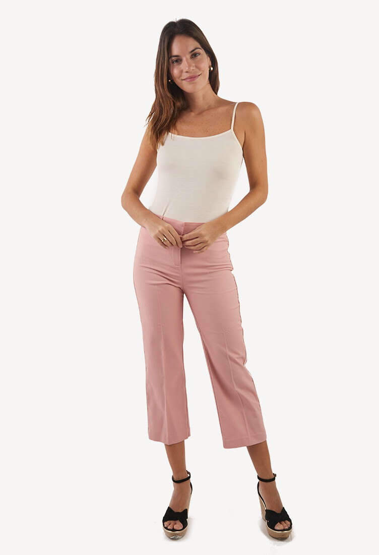 Pantalón nude con detalle lateral