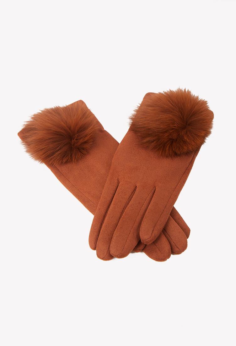 Guantes color marrón con detalles