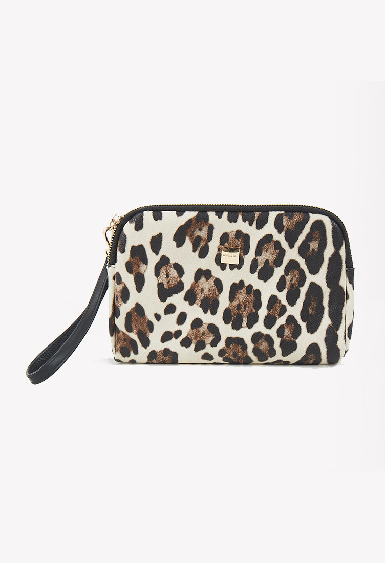 Monedero estampado animal print marrón