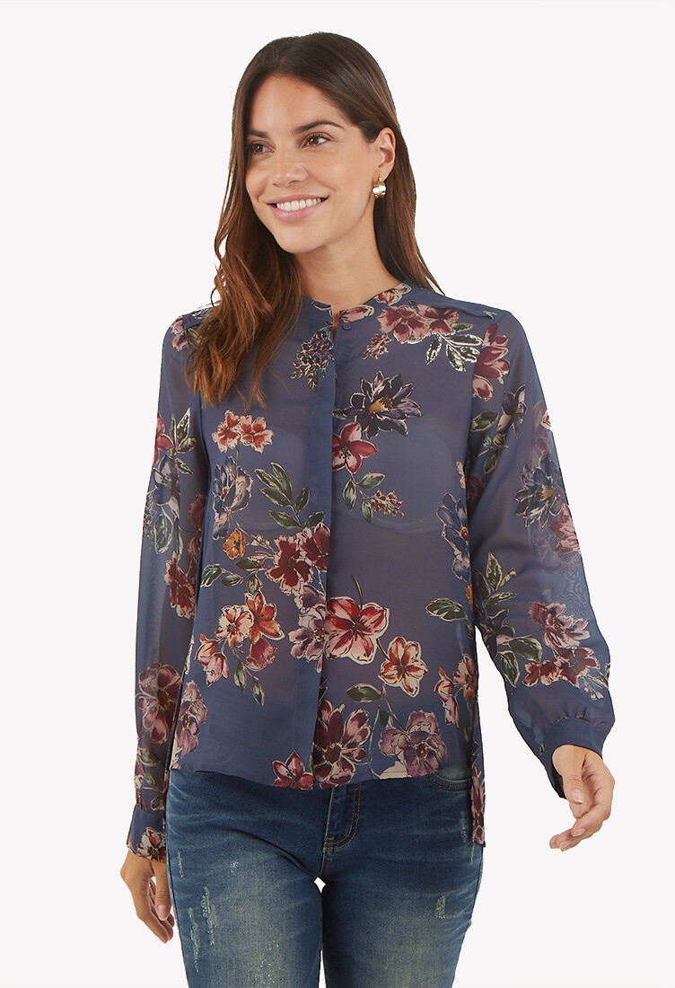 Blusa manga larga estampado floral color acero