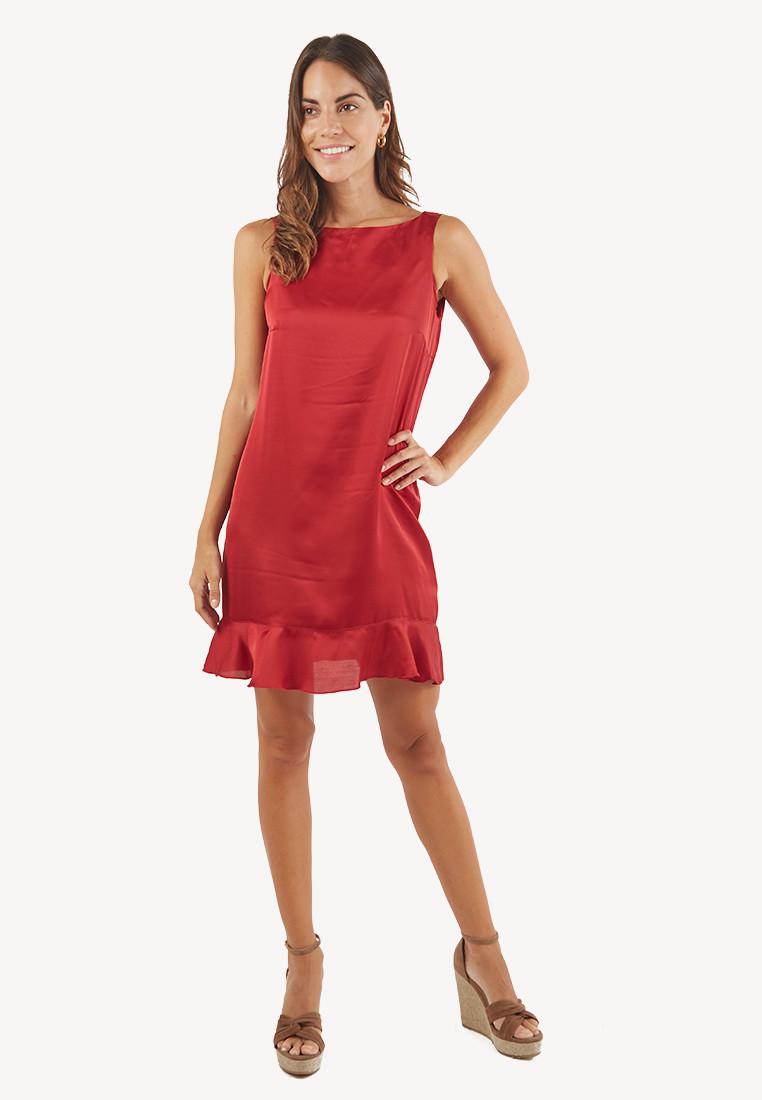 Vestido rojo con bobos inferiores