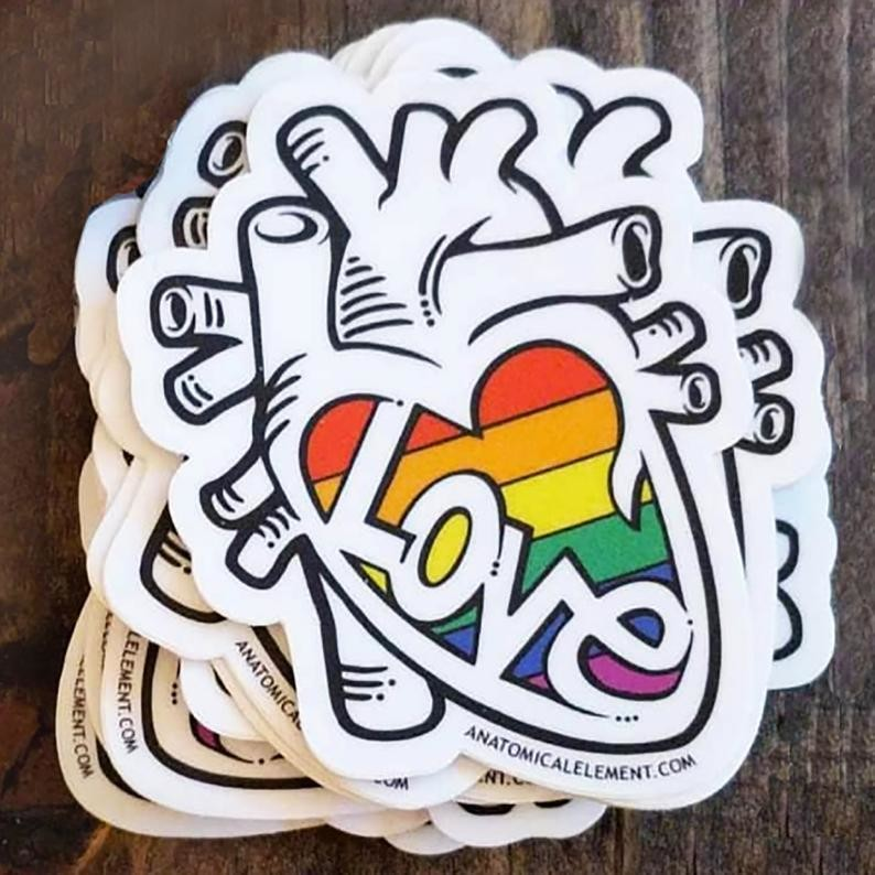 Anatomical Element LOVE is LOVE Anatomical Heart Pride Sticker