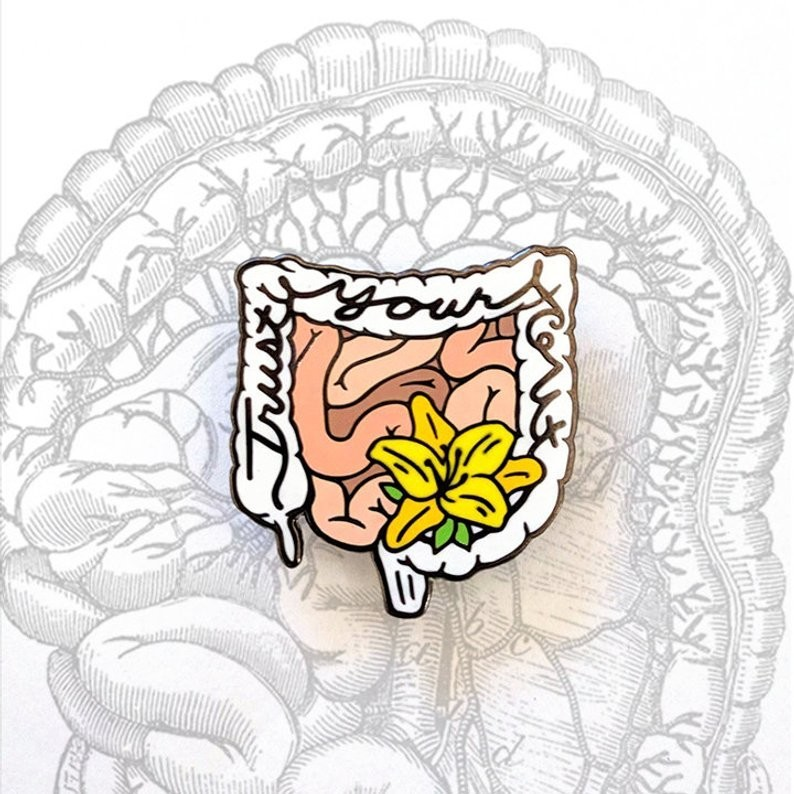 Anatomical Element Trust Your Gut Intestines Enamel Lapel Pin