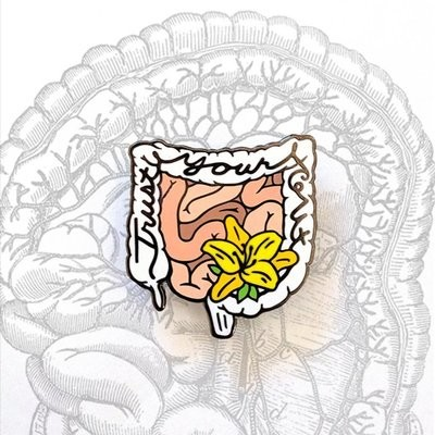 Anatomical Element Trust Your Gut Intestines Enamel Lapel Pin