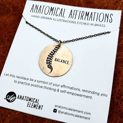 BALANCE- Anatomical Spine Brass Necklace
