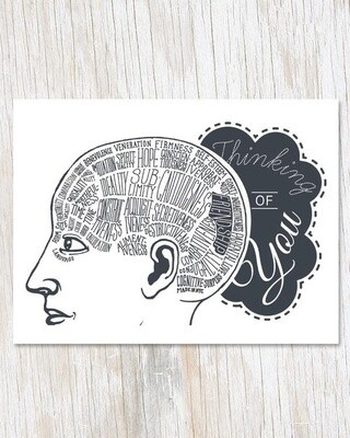 Thinking Of You: Phrenology Greeting Card