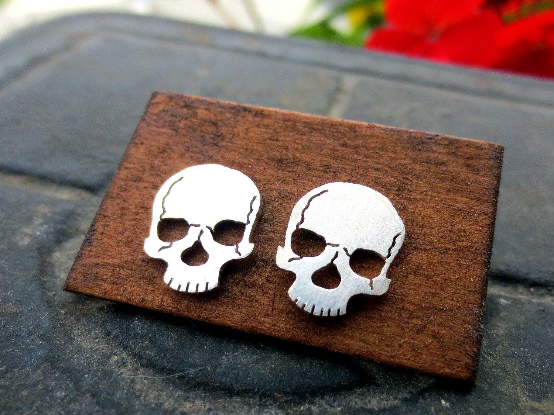 Anatomical Skull Earrings - Sterling Silver