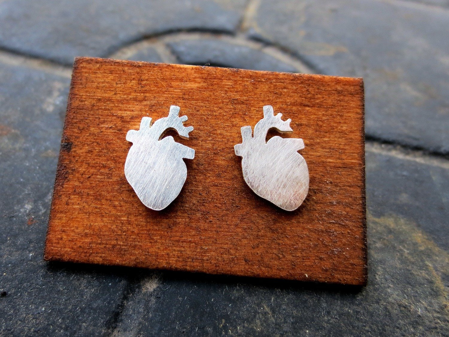 Anatomical Heart Earrings - Sterling Silver