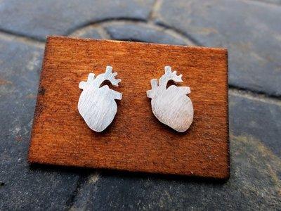 Anatomical Heart Earrings - Sterling Silver