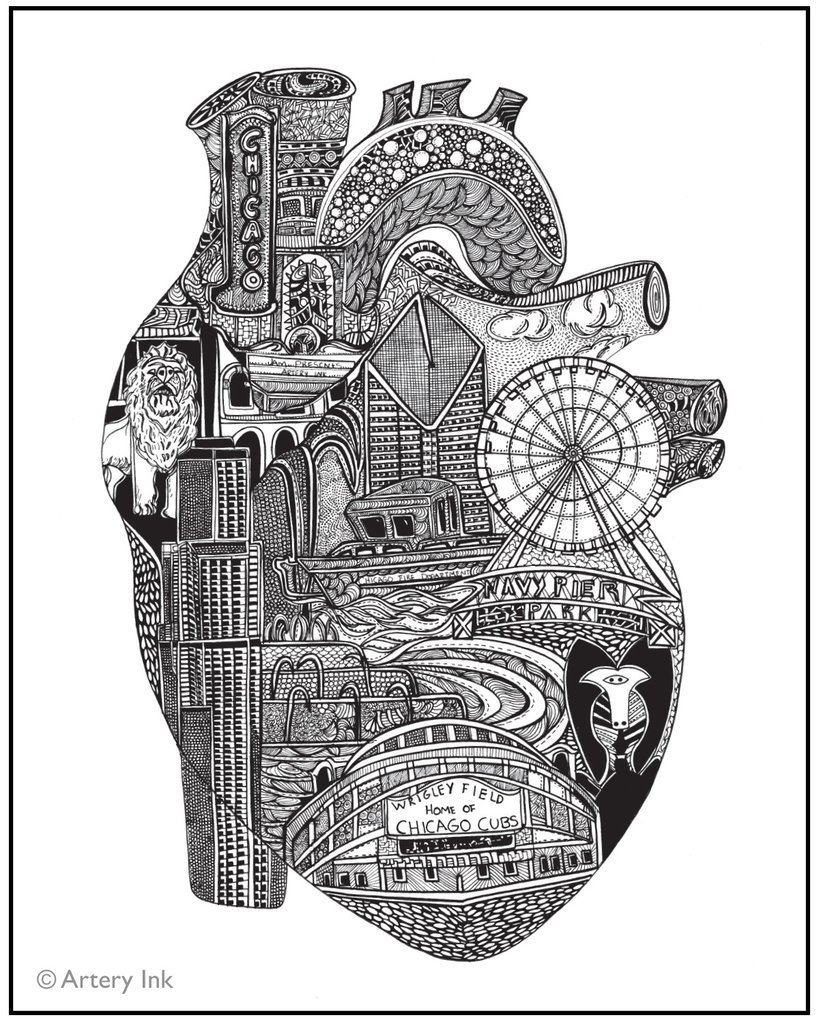 Chicago Heart Print
