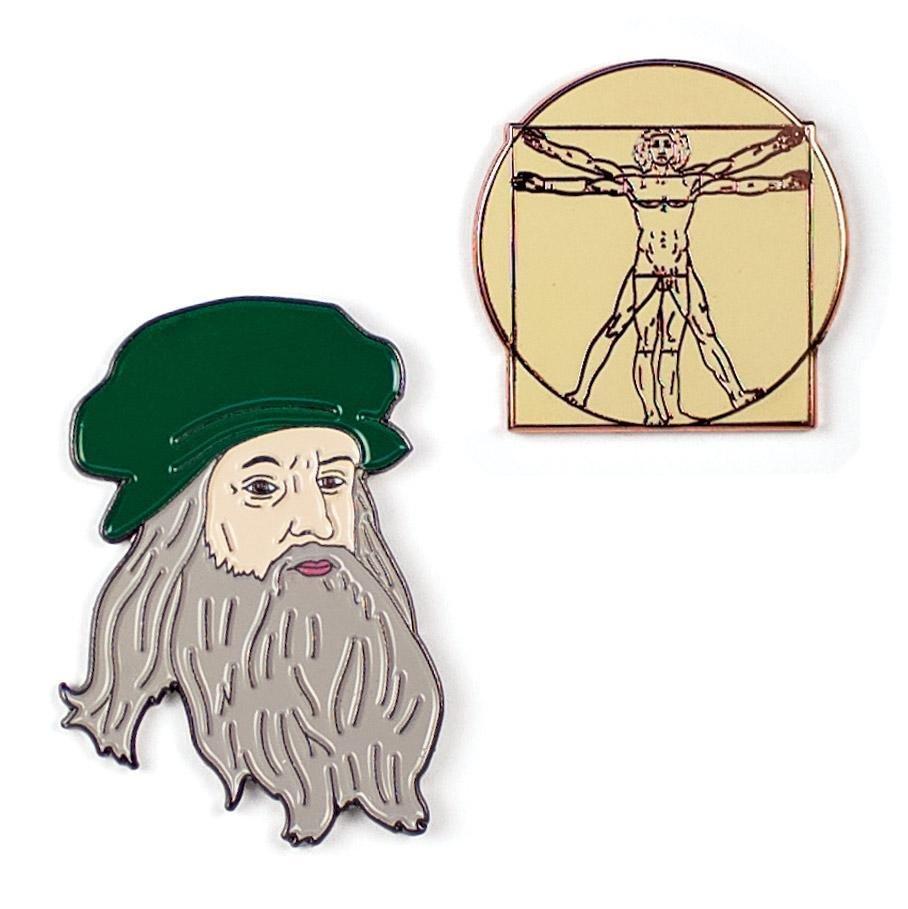 Leonardo and Vitruvian Man Pins