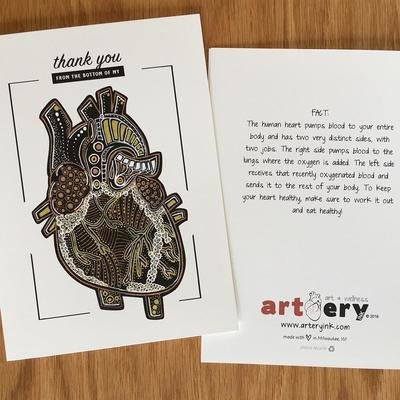 Mini Metallic Heart - Thank You Card