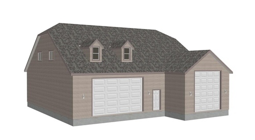 G383A 20 X 60 X 14 And 50 X 43 X 12 RV Garage Plans With