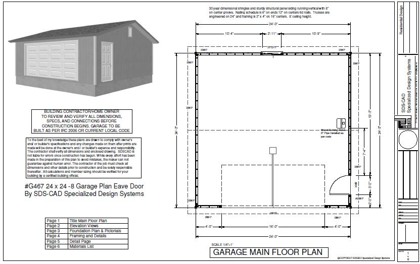 G467 24 X 24 8 Garage Plans With Pdf And Autocad Dwg