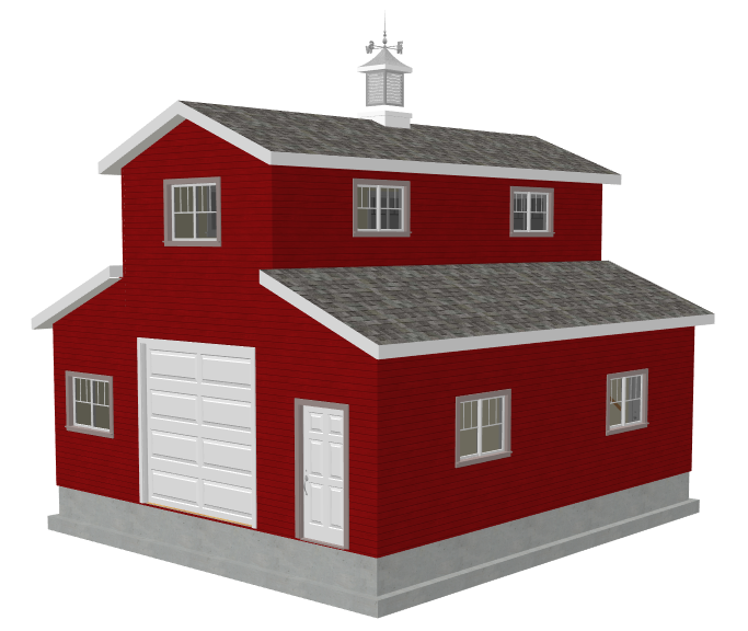 Garage Plans Blueprints 26 X 36 3 Car Traditional: #g503 26 X 30 X 10 Monitor Barn Plans