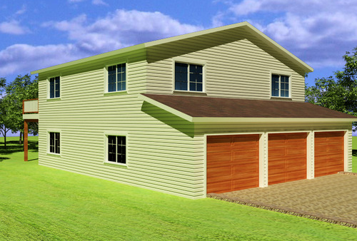 G318 Custom 32 x 40 8 Two Story Garage Plan – 32X40 Garage Plans