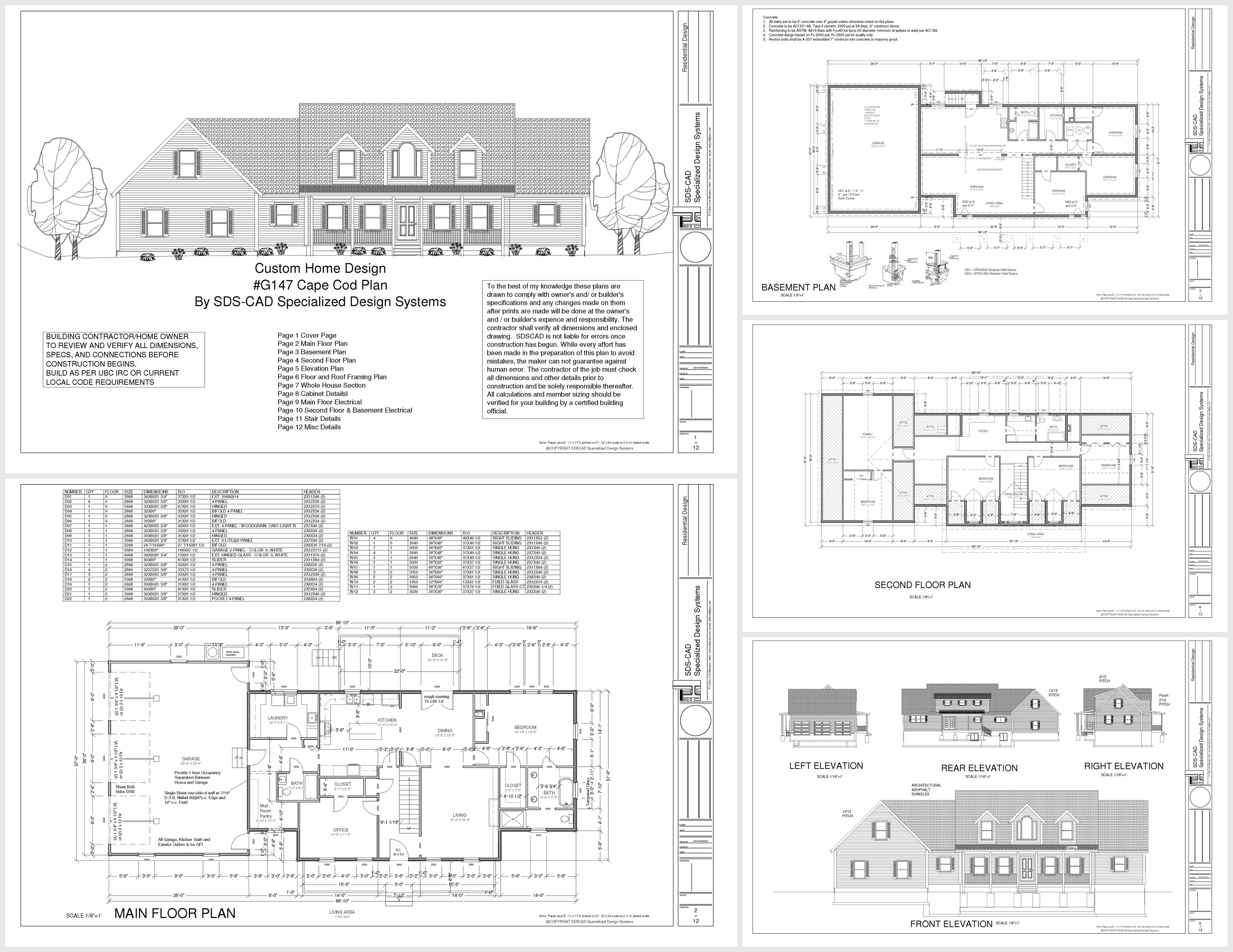 H147 cape cod executive plan reverse dwg and pdf house for Houseplan com