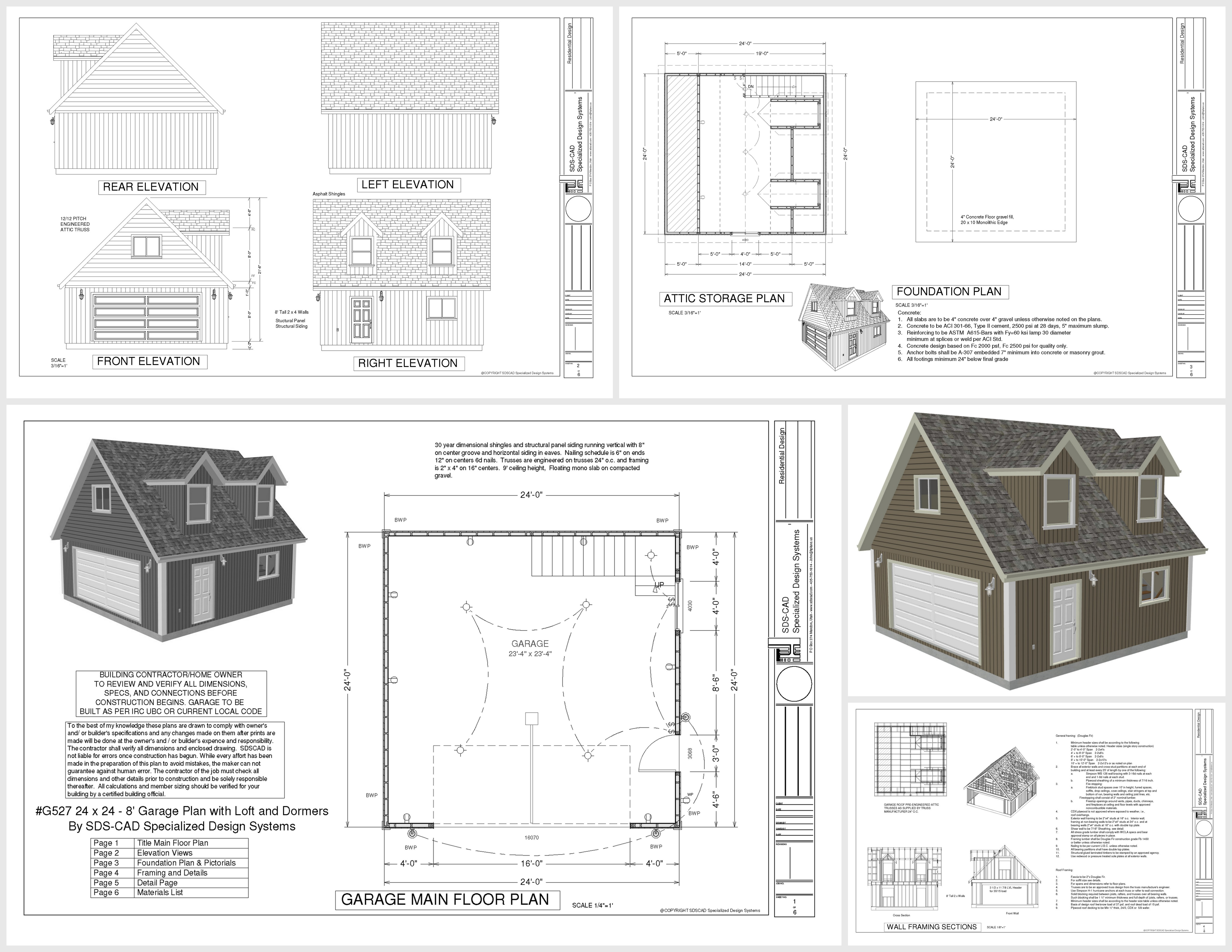 G527 24 x 24 x 8 Loft and Dormers DWG and PDF   Garage ...