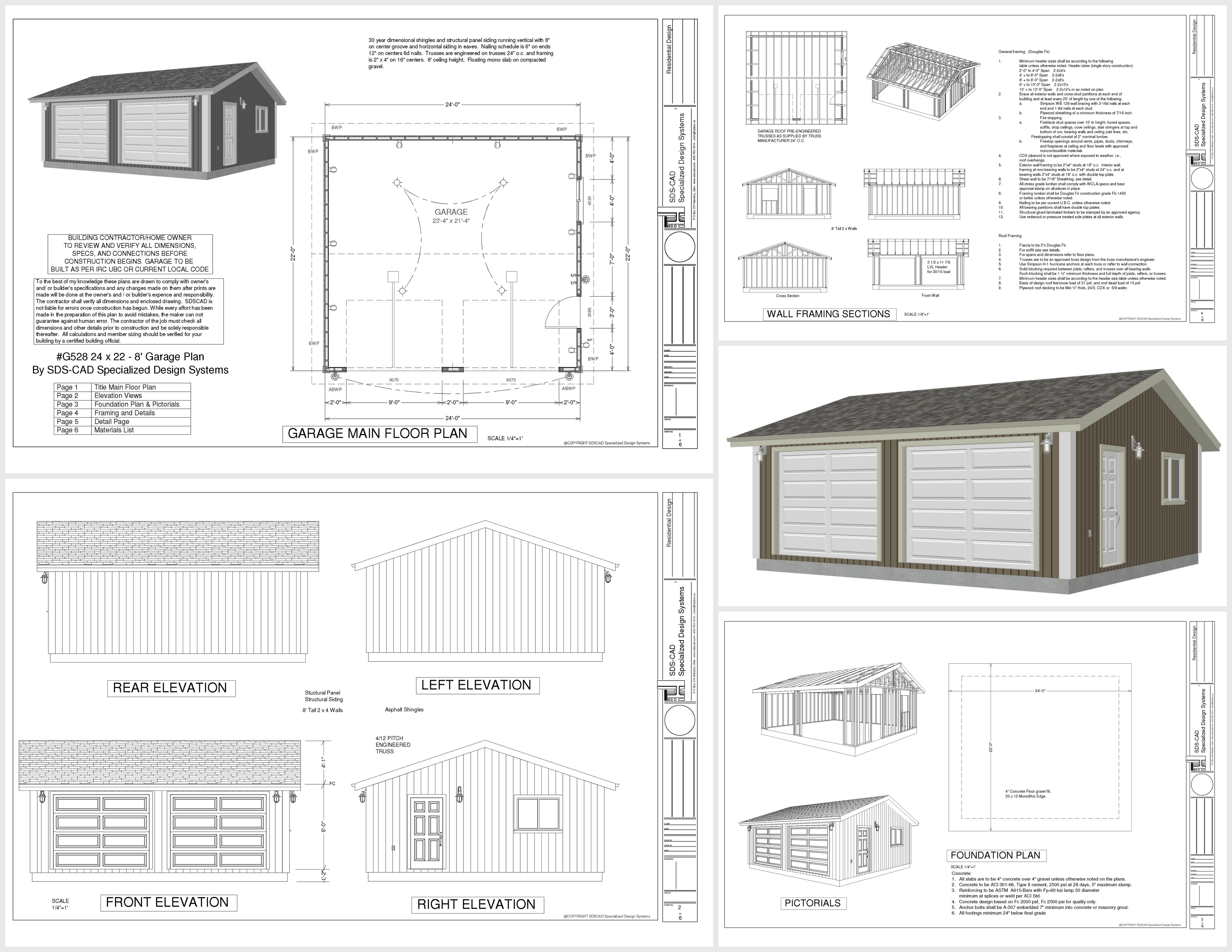 G528 24 x 22 x 8 Garage Plan PDF and DWG – 24 X 26 Garage Plans