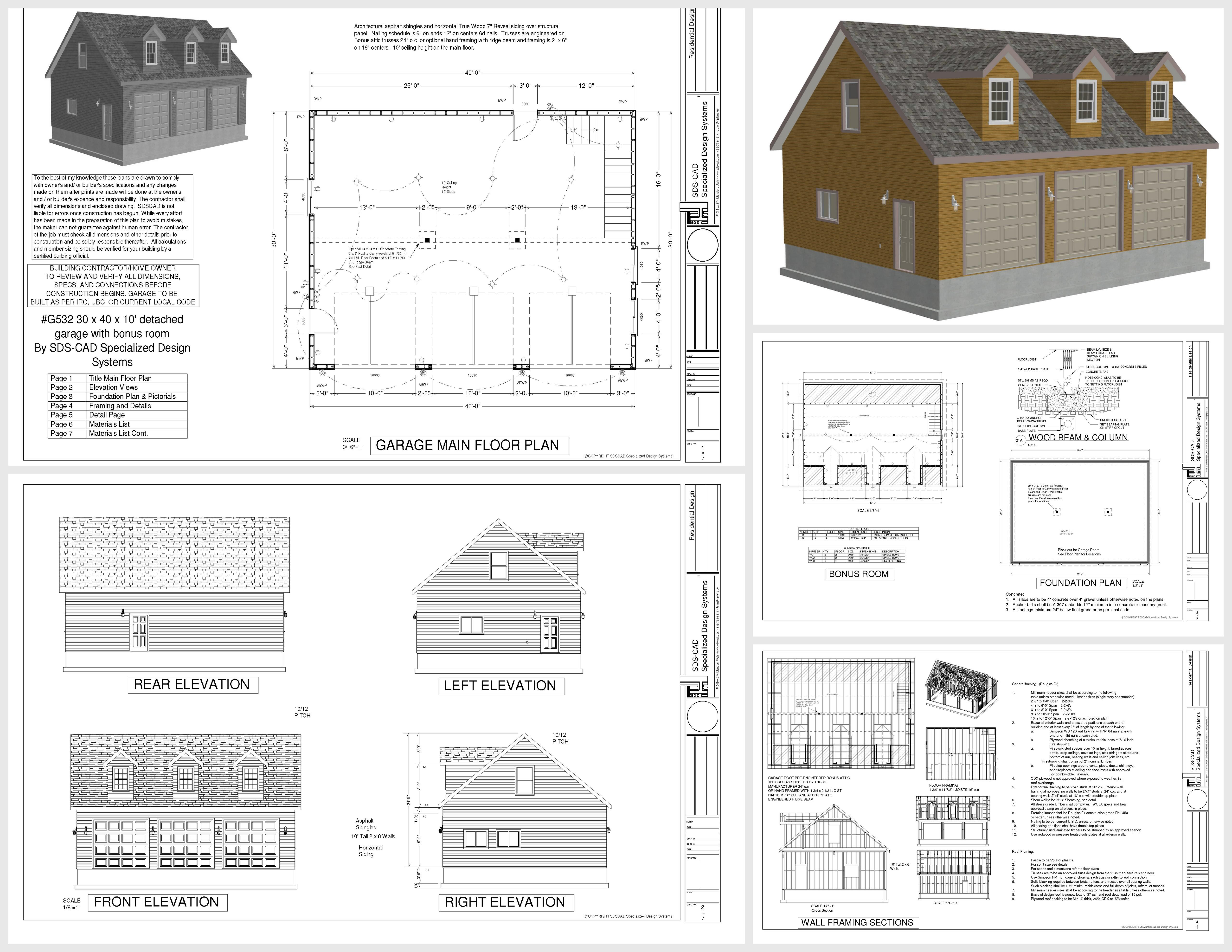 G532 30 X 40 X 10 3 Car Cape Cod Dormer Garage Plans With Bonus Room Dwg And Pdf Garage Plansg532 30 X 40 X 10 3 Car Cape