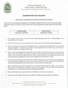 International Certified Food Safety Manager (ICFSM) Exam Voucher 00110