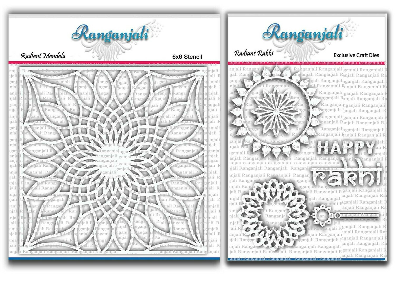 Ranganjali RADIANT RAKHI Exclusive Stencil and Craft Die set- Bundle