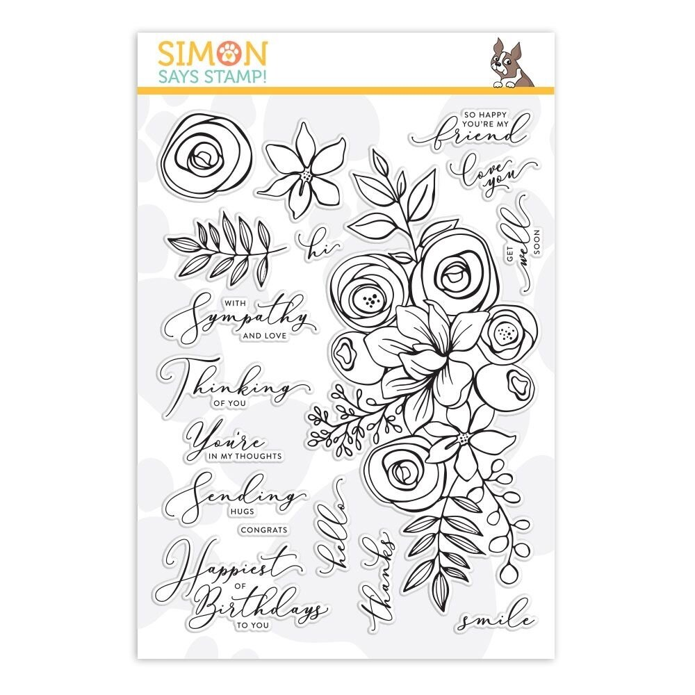 Simon Says Stamp SKETCHED FLOWERS Clear Stamp Set