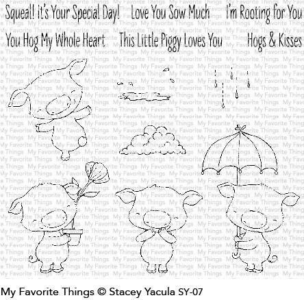 My Favorite Things PIGGY PEBBLES Clear Stamp Set