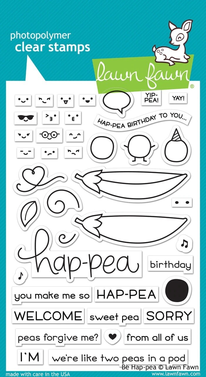 Lawn Fawn BE HAP-PEA Clear Stamp Set