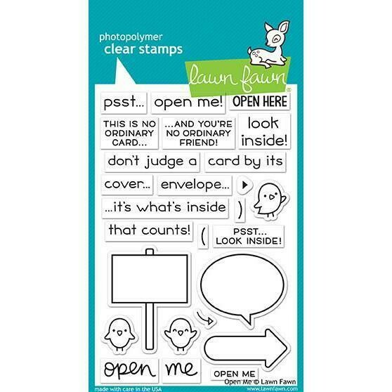 Lawn Fawn OPEN ME Clear Stamp Set