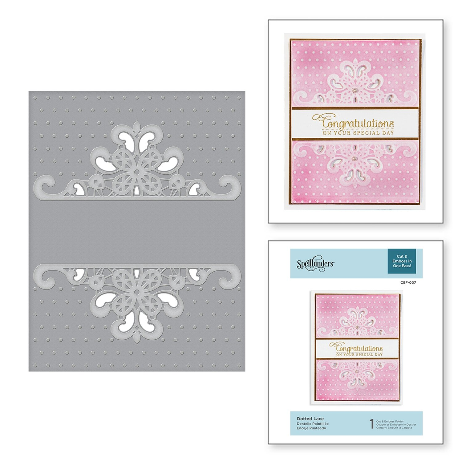 Spellbinders DOTTED LACE Cut and Emboss  Embossing Folder