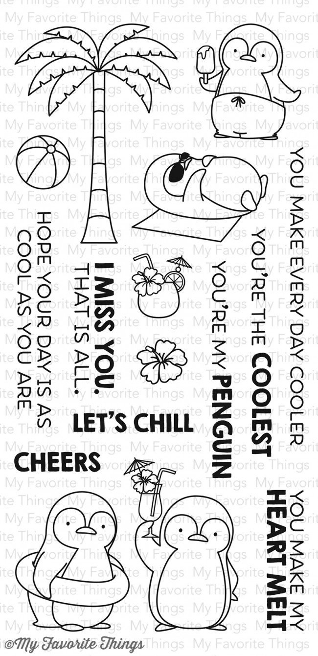 My Favorite Things PENGUINS IN PARADISE Clear Stamp Set
