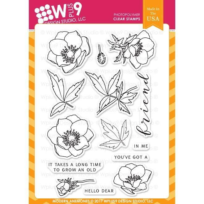 WPlus9 MODERN ANEMONES Clear Stamp Set